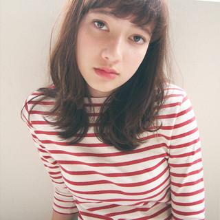 ブラウン ストレート ミディアム パーマ ヘアスタイルや髪型の写真・画像