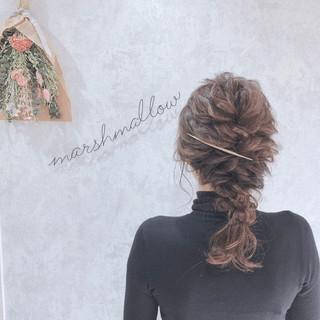 ヘアアレンジ 編みおろし 編みおろしヘア 簡単ヘアアレンジ ヘアスタイルや髪型の写真・画像