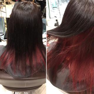 レッド ダークアッシュ セミロング 暗髪 ヘアスタイルや髪型の写真・画像