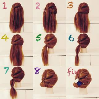 夏 簡単ヘアアレンジ ガーリー くるりんぱ ヘアスタイルや髪型の写真・画像