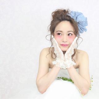 ブライダル ミディアム フェミニン 結婚式 ヘアスタイルや髪型の写真・画像