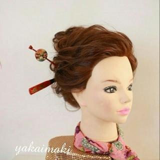 ヘアアレンジ 着物 和服 セミロング ヘアスタイルや髪型の写真・画像