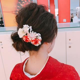 成人式 ミディアム ヘアアレンジ 簡単ヘアアレンジ ヘアスタイルや髪型の写真・画像