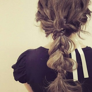 編み込み ハーフアップ ゆるふわ ロング ヘアスタイルや髪型の写真・画像