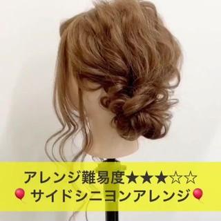 結婚式 ナチュラル ミディアム ヘアアレンジ ヘアスタイルや髪型の写真・画像