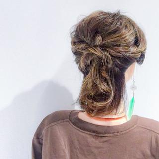 オフィス ボブ デート 簡単ヘアアレンジ ヘアスタイルや髪型の写真・画像