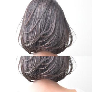 女子会 ラベンダー ボブ デート ヘアスタイルや髪型の写真・画像