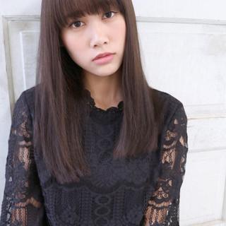 フェミニン 黒髪 セミロング 暗髪 ヘアスタイルや髪型の写真・画像