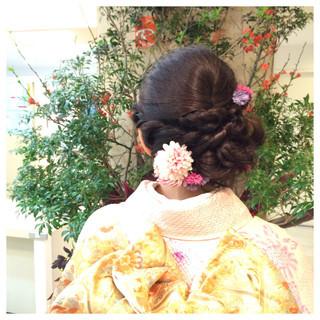 成人式 着物 アップスタイル セミロング ヘアスタイルや髪型の写真・画像