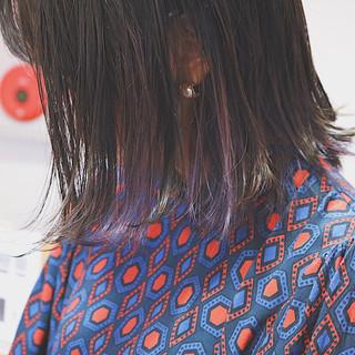 インナーカラー ボブ デート ラベンダーアッシュ ヘアスタイルや髪型の写真・画像