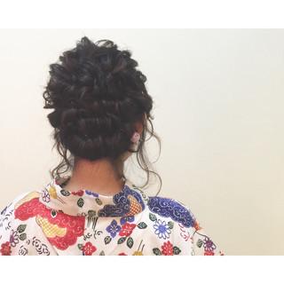 まとめ髪 ヘアアレンジ 夏 セミロング ヘアスタイルや髪型の写真・画像