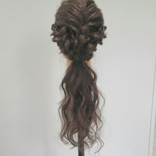 編み込み セミロング 簡単ヘアアレンジ ハーフアップ ヘアスタイルや髪型の写真・画像