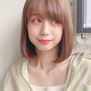 ミディアムレイヤー 縮毛矯正 縮毛矯正ストカール フェミニン ヘアスタイルや髪型の写真・画像