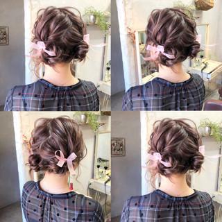 お団子 ヘアアレンジ ガーリー パーティ ヘアスタイルや髪型の写真・画像
