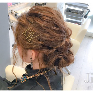 ショート ヘアアレンジ 外国人風 波ウェーブ ヘアスタイルや髪型の写真・画像