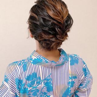 ボブ 着物 浴衣アレンジ ミニボブ ヘアスタイルや髪型の写真・画像