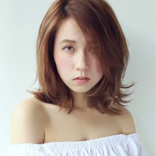 ハイライト フェミニン 秋 ミディアム ヘアスタイルや髪型の写真・画像