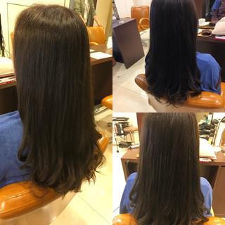 セミロング ワンカール ストレート パーマ ヘアスタイルや髪型の写真・画像
