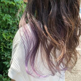 ラベージュ ユニコーン グラデーションカラー ロング ヘアスタイルや髪型の写真・画像