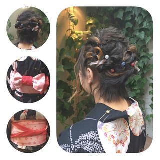 ショート ボブ 和装 ヘアアレンジ ヘアスタイルや髪型の写真・画像