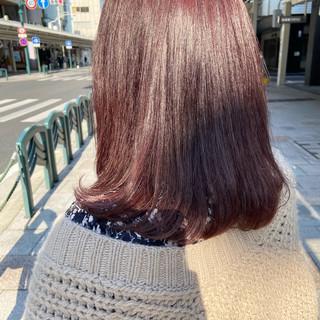 ラベンダーピンク ピンクベージュ ミディアム ピンク ヘアスタイルや髪型の写真・画像