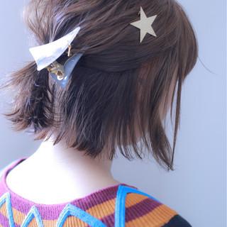 ナチュラル 簡単ヘアアレンジ ウェットヘア ボブ ヘアスタイルや髪型の写真・画像
