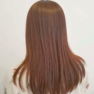 セミロング ガーリー ストレート ピンク ヘアスタイルや髪型の写真・画像
