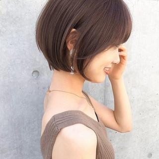 ショート 切りっぱなしボブ ショートボブ ミニボブ ヘアスタイルや髪型の写真・画像