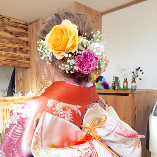 成人式 セミロング アップスタイル 振袖 ヘアスタイルや髪型の写真・画像