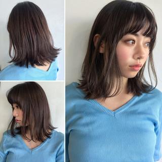 黒髪 前髪あり ナチュラル ミディアム ヘアスタイルや髪型の写真・画像