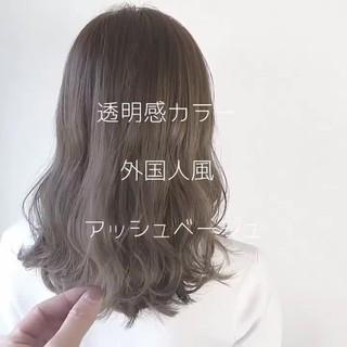 外国人風 セミロング ガーリー 透明感 ヘアスタイルや髪型の写真・画像