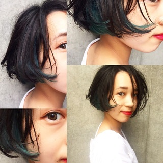 グラデーションカラー ボブ 黒髪 暗髪 ヘアスタイルや髪型の写真・画像