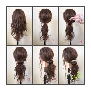 ポニーテール ナチュラル ローポニーテール ロング ヘアスタイルや髪型の写真・画像