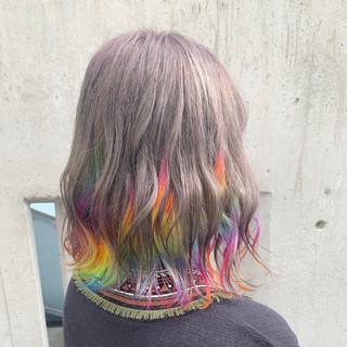 ボブ ユニコーンカラー ストリート インナーカラー ヘアスタイルや髪型の写真・画像