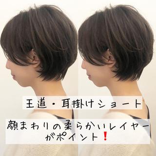 オフィス ショート ショートヘア アウトドア ヘアスタイルや髪型の写真・画像