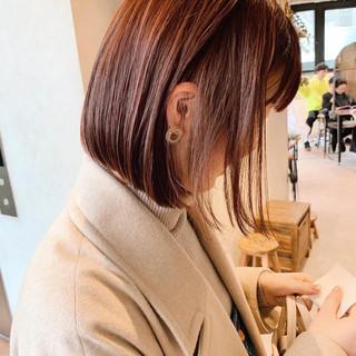 ミニボブ 前髪 ナチュラル オフィス ヘアスタイルや髪型の写真・画像