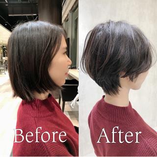 ナチュラル インナーカラー ショートボブ ショートヘア ヘアスタイルや髪型の写真・画像
