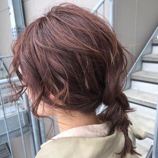 簡単ヘアアレンジ ヘアアレンジ ナチュラル アプリコットオレンジ ヘアスタイルや髪型の写真・画像
