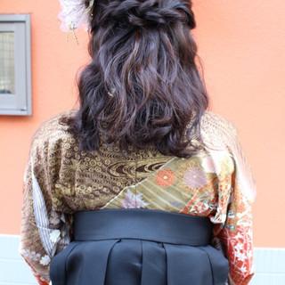 謝恩会 ナチュラル セミロング 学校 ヘアスタイルや髪型の写真・画像