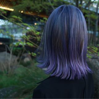 モード グレージュ パープル ミディアム ヘアスタイルや髪型の写真・画像