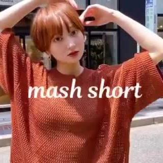 ショート オレンジベージュ マッシュショート ナチュラル ヘアスタイルや髪型の写真・画像