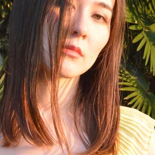 セミロング ナチュラル 縮毛矯正 美髪 ヘアスタイルや髪型の写真・画像