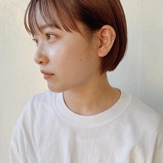 ショートヘア ショートボブ ピンクベージュ ショート ヘアスタイルや髪型の写真・画像