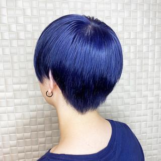 ハイトーン ストリート ネイビーブルー ハイトーンカラー ヘアスタイルや髪型の写真・画像