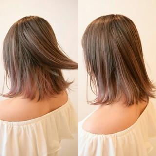 インナーカラー ボブ 色気 ハイライト ヘアスタイルや髪型の写真・画像
