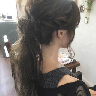 上品 お団子 ロング ポニーテール ヘアスタイルや髪型の写真・画像