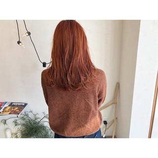 オレンジブラウン オレンジベージュ アプリコットオレンジ オレンジ ヘアスタイルや髪型の写真・画像