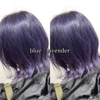 ネイビー ヘアカラー ブルーラベンダー ラベンダーカラー ヘアスタイルや髪型の写真・画像