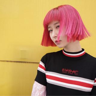 前髪あり デート ピンク モード ヘアスタイルや髪型の写真・画像