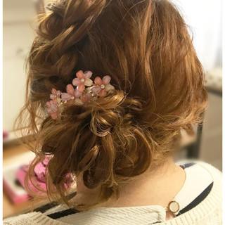 結婚式 ミディアム ヘアアレンジ 涼しげ ヘアスタイルや髪型の写真・画像